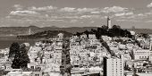 street on hill in San Francisco panorama view from top of Lombard Street poster
