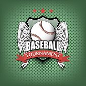 Baseball Logo Template Design. Baseball Ball With Wings. Vintage Style. Isolated On Green Bubbles Ba poster