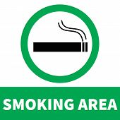 Smoking Area Icon On White Background. Flat Style. Smoke Area Icon For Your Web Site Design, Logo, A poster