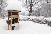 A Bird Vending Machine In A Garden. All Covered Under Newly Fallen Snow. Winter. poster