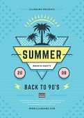 Summer Beach Party Flyer Or Poster Template 90s Typography Style Design. poster