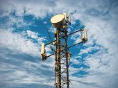 Base Station Or Base Transceiver Station. Telecommunication Tower. Wireless Communication Antenna Tr poster