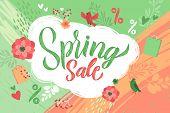 Spring. Trendy Script Lettering Design Spring Sale. - Vector Illustration. poster