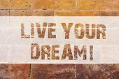 Text Sign Showing Live Your Dream. Conceptual Photo Motivation Be Successful Inspiration Happiness A poster