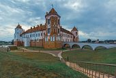 Town Mir Castle In Belarus Cultural Heritage And Architecture, Summer Landscape With A Cloudy Sky poster