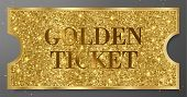Golden Ticket With Gold Sparkle Starry Glitter Background. Tear-off Coupon Useful For Any Festival,  poster