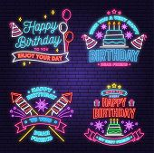Wish You A Very Happy Birthday Dear Friend Neon Sign. Badge, Sticker, Card, With Birthday Hat, Firew poster