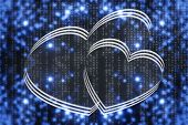 Two Virtual Hearts On Blue Matrix Background Close-up. Virtual Space With Two Painted Hearts. Virtua poster