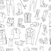 Pattern Of Objects On The Rider Equipment Theme. Vector Images Of Sports Outfits And Clothes For The poster