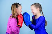 Boxer Children In Boxing Gloves. Girls Cute Boxers On Blue Background. Friendship As Battle And Comp poster