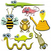 VECTOR - Family of Funny Cartoon Reptile Animals - ( Snake, Chameleon, Cobra, Bee, Crocodile, Frog,