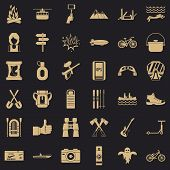 Adventure Icons Set. Simple Style Of 36 Adventure Vector Icons For Web For Any Design poster