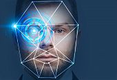 Man Head With Face Recognition Interface poster