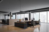 Gray Panoramic Office Corner poster