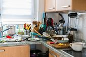 Compulsive Hoarding Syndrom - messy kitchen with pile of dirty dishes poster