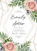 Wedding Floral Invite Invitation Card Design. Lavender Pink Garden Rose, Green Tropical Palm Leaf, S poster