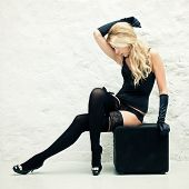 pic of high heels  - Blond lady in black lingerie sitting near a wall - JPG