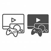Gaming Line And Glyph Icon. Game Console Vector Illustration Isolated On White. Play Video Game Outl poster