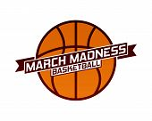 March Madness Basketball Sport Design. Basketball Tournament Logo, Emblem, Designs With Basketball B poster