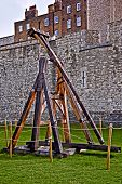stock photo of trebuchet  - Medieval weapon Trebuchet at the Tower of London - JPG