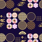 Beautiful Japanese Seamless  Pattern With Sakura Flowers, Clouds, Waves. Japanese, Chinese Elements. poster