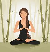 image of tantra  - illustration of a beautiful young woman meditating in yoga lotus position - JPG