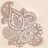 picture of henna tattoo  - Henna Mehndi Doodles Abstract Floral Paisley Vector Illustration Design Element - JPG