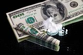 picture of methadone  - Cocaine drugs heap still life on a mirror with rolled 100 dollar bank note - JPG