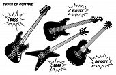 Electric, Bass And Acoustic Guitar With 6 And 4 Strings. Vector Black And White Silhouette Illustrat poster