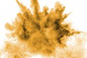 Freeze Motion Of Brown Dust Explosion. Stopping The Movement Of Brown Powder. Explosive Brown Powder poster
