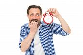 Being Late. Stressed Senior Man Worry Being Behind Time. Bearded Man With Clock And Stress On Face.  poster