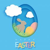 Easter Card With Paper Cut Egg Shape Frame. Happy Easter Paper Cut Out Egg On Blue Background. Trend poster