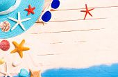 Summer Holidays Background With Starfish And Beach Accessories -  Conceptual Frame Of Summertime Vac poster
