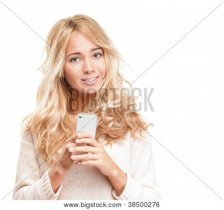 Young Pretty Woman With Modern Phone On White.