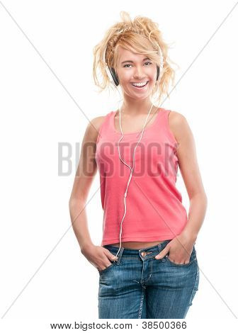 Beautiful And Happy Young Woman With Headphones.