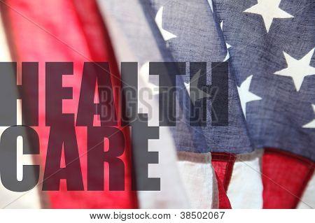 Bandeira americana com palavras de cuidados de saúde