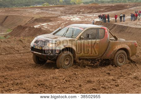 Portalegre, Portugal - November 3: Jose Mendes Drives A Mitsubishi L200 In Baja 500, Integrated On F
