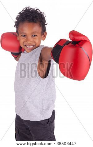 Happy Child Wearing Boxing Gloves