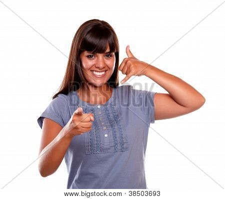 Smiling Young Woman Pointing At You Saying Call Me
