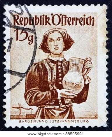 Postage stamp Austria 1948 Woman from Burgenland, Lutzmannsburg