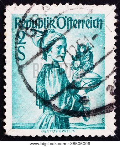 Postage stamp Austria 1948 Woman from Upper Austria