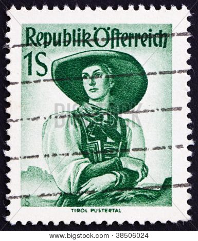 Postage stamp Austria 1948 Woman from Tyrol, Puster Valley