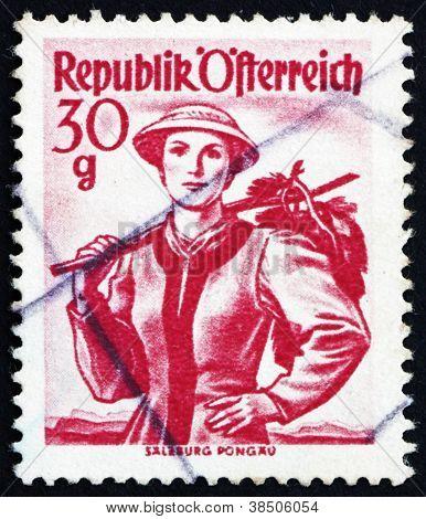 Postage stamp Austria 1948 Woman from Salzburg, Pongau