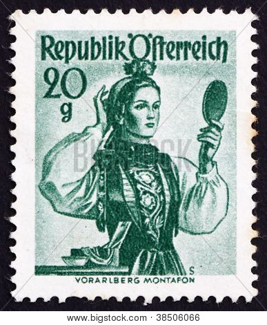 Postage stamp Austria 1948 Woman from Vorarlberg, Montafon Valle