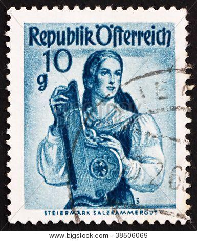 Postage stamp Austria 1948 Woman from Styria, Salzkammergut