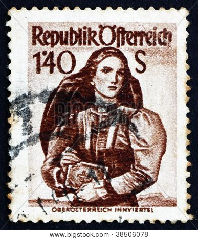 Postage stamp Austria 1948 Woman from Upper Austria, Inn District