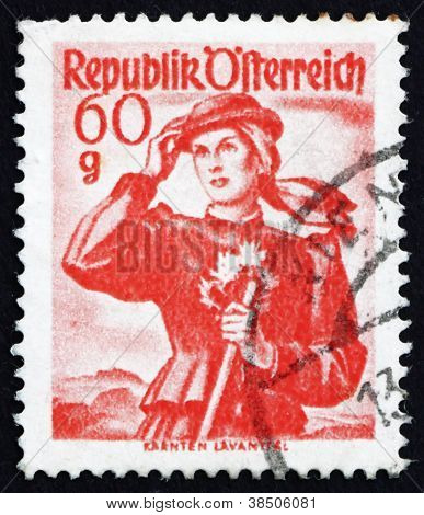 Postage stamp Austria 1948 Woman from Carinthia, Lavant Valley