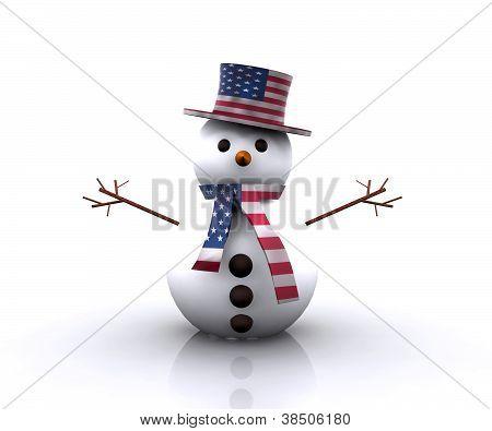 Nice Snowman American - 3D