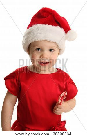 Toddler With Christmas Candy