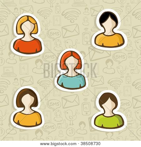 Diversity User Profile Icon Set